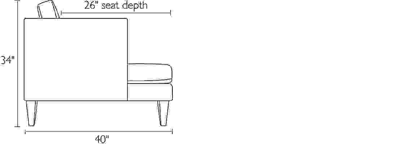Side view dimension illustration of Hutton sofa