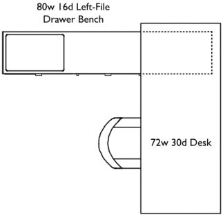 Seventy-two inch wide, thirty inch deep Desk with eighty inch wide, sixteen inch deep Left-File Drawer Bench, arranged in an L-shape, with bench tucked under one end of desk.