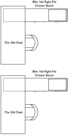 Two L-shaped work stations arranged with desks side by side. Each work station is a seventy two inch wide, thirty inch deep desk and an eighty inch wide, sixteen inch deep Right-File Drawer Bench.