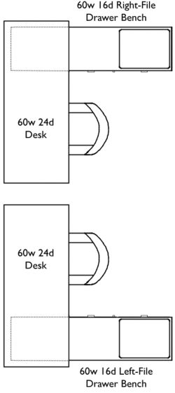 Two L-shaped work stations arranged with desks side by side. One is a sixty inch wide, twenty-four inch deep Desk and a sixty inch wide, sixteen inch deep Right-File Drawer Bench. Two is a sixty inch wide, twenty-four inch deep Desk and a sixty inch wide, sixteen inch deep Left-File Drawer Bench.
