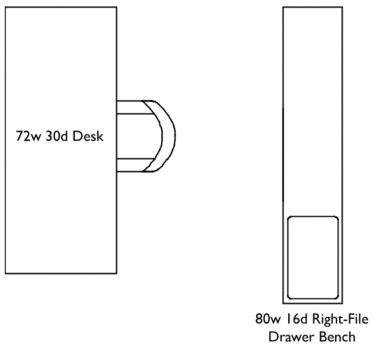 Seventy-two inch wide, thirty inch deep Desk with eighty inch wide, sixteen inch deep Right-File Drawer Bench, arranged parallel to each other, with bench behind the desk.
