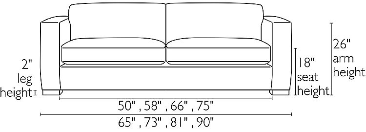 Front view dimension illustration of Ian sofa