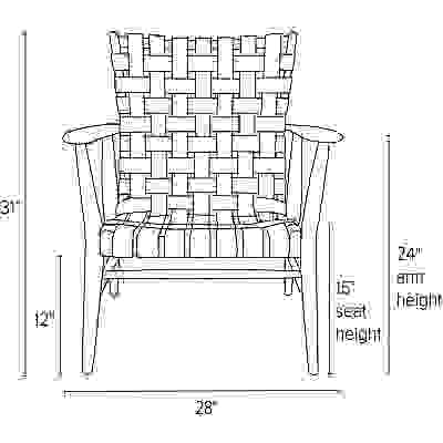 Front view dimension illustration of Ira chair