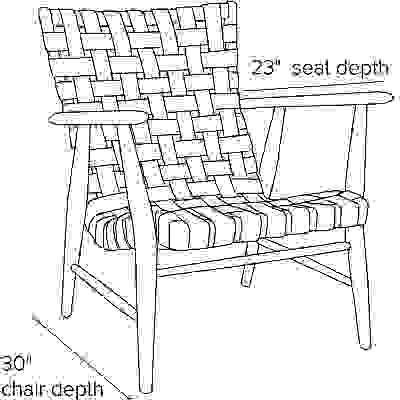 Side view dimension illustration of Ira chair