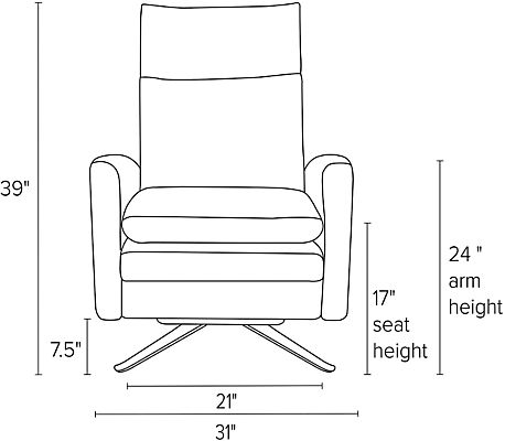 Front view dimension illustration of Isaac recliner with curved arms