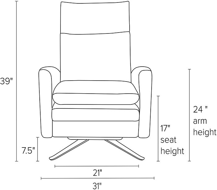Dimensions for Isaac thin and curved arm recliners