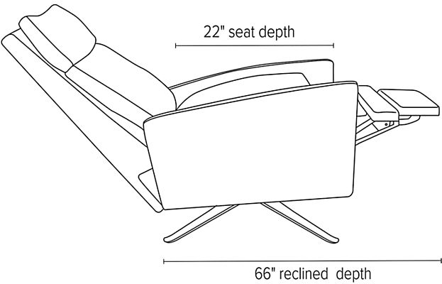 Side view dimension illustration of Isaac recliner with curved arms