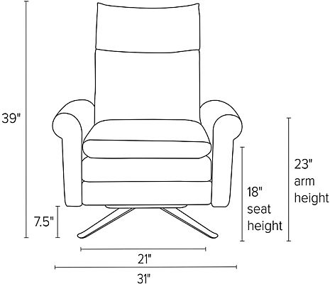 Front view dimension illustration of Isaac recliner with rolled arms