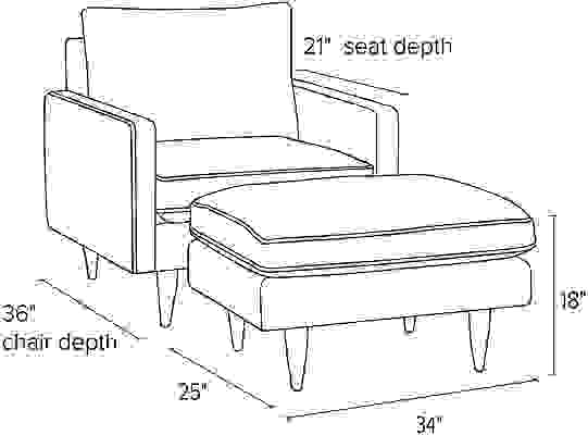 Side view dimension illustration of Jasper chair and ottoman