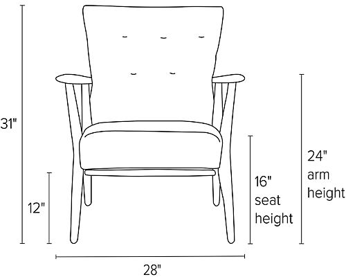 Front view dimension illustration of Jonas chair