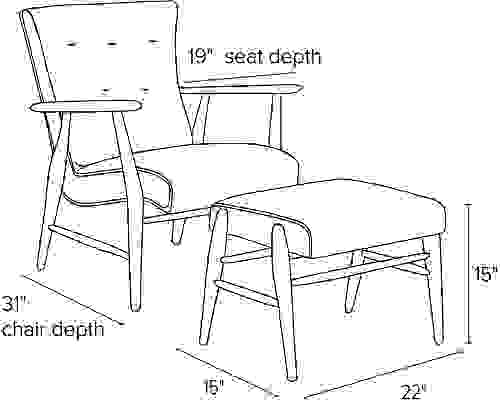 Side view dimension illustration of Jonas chair and ottoman