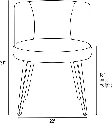 Front view dimension illustration of June dining chair