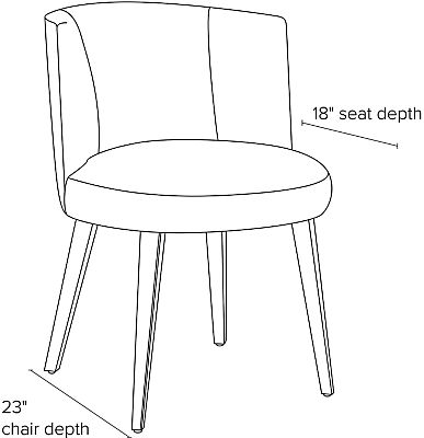 Side view dimension illustration of June dining chair