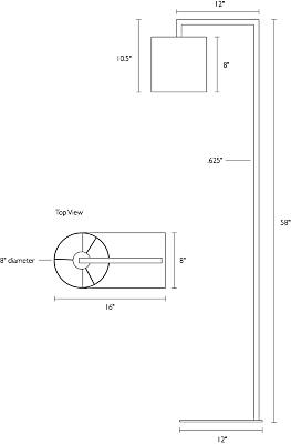 Detail of Lantern floor lamp dimension drawing