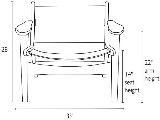 Front view dimension illustration of Lars chair