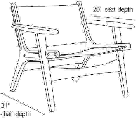 Side view dimension illustration of Lars chair
