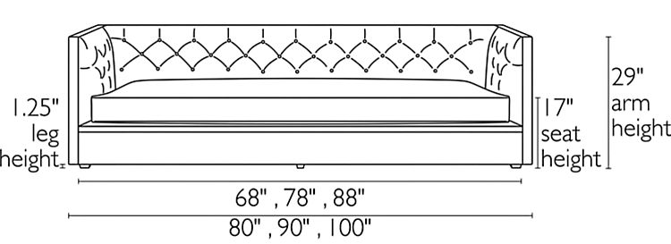 Front view dimension illustration of Macalester sofa