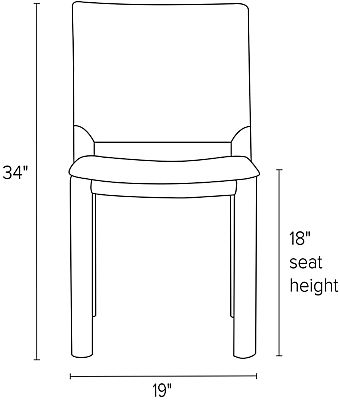 Front view dimension illustration of Madrid side chair