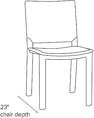 Side view dimension illustration of Madrid side chair
