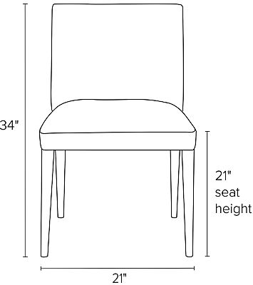 Front view dimension illustration of Marie side chair