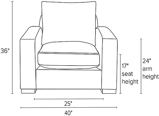 Front view dimension illustration of Metro chair