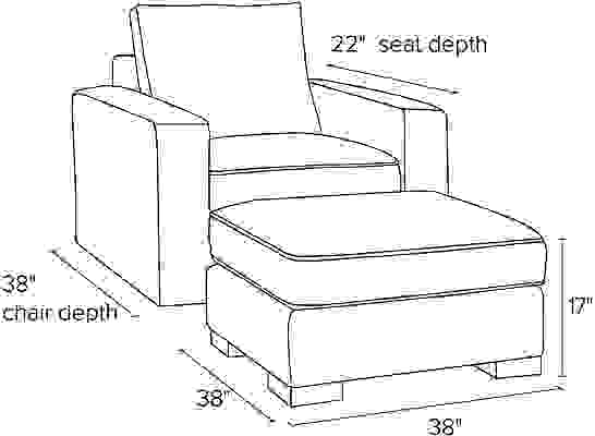 Side view dimension illustration of Metro chair and ottoman