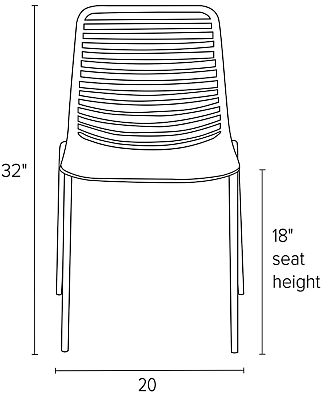 Front view dimension illustration of Mini side chair
