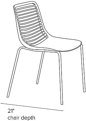 Side view dimension illustration of Mini side chair