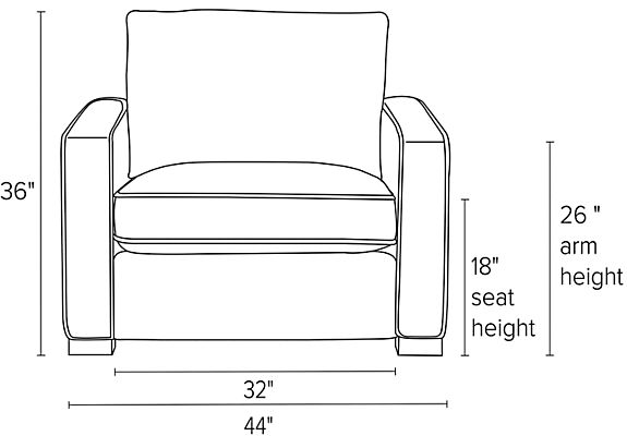 Front view dimension illustration of Morrison chair