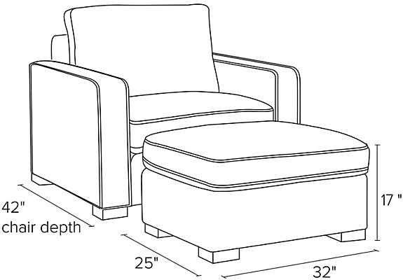 Side view dimension illustration of Morrison chair and ottoman