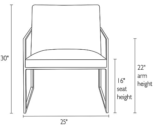 Front view dimension illustration of Novato chair