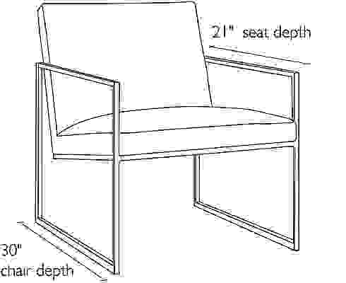 Side view dimension illustration of Novato chair