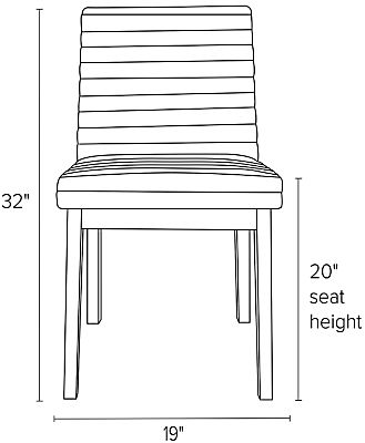 Front view dimension illustration of Olsen side chair