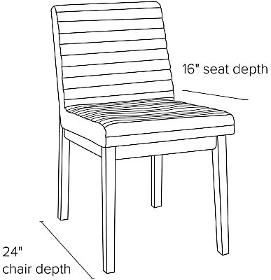 Side view dimension illustration of Olsen side chair