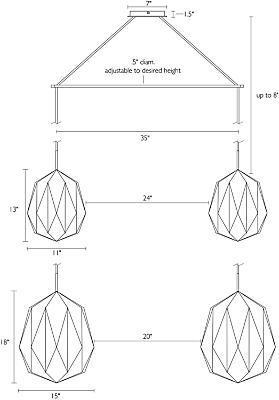 Detail of Orikata Acorn double pendant dimension drawings