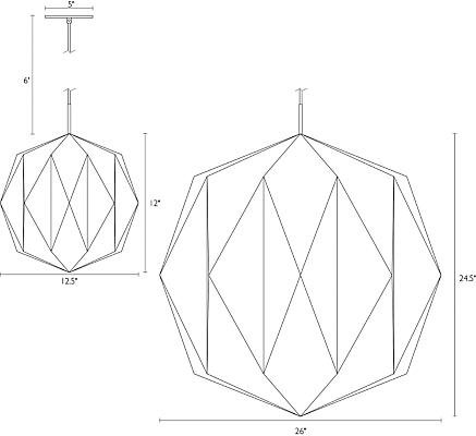 Detail of Orikata Ball pendant dimension drawings