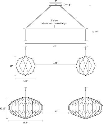 Detail of Orikata Saucer and Ball double pendant dimension drawings