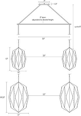 Detail of Orikata Teardrop double pendant dimension drawing
