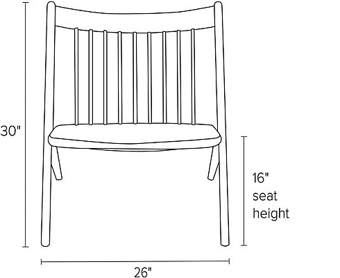 Front view dimension illustration of Oskar chair