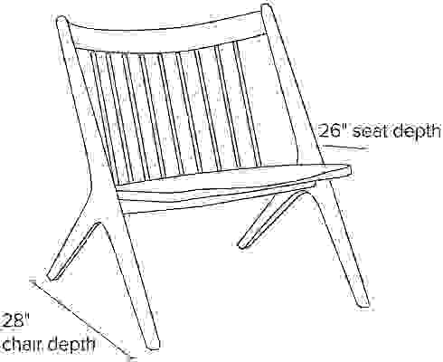 Side view dimension illustration of Oskar chair