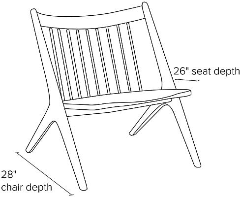 Side view dimension illustration of Oskar chair