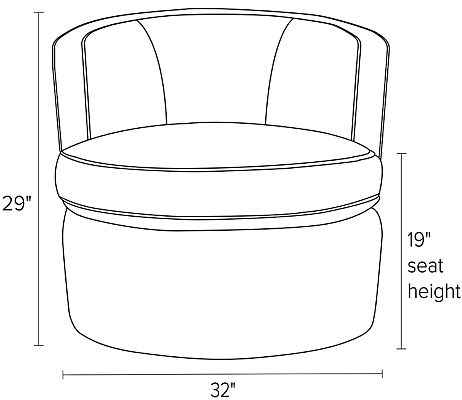 Front view dimension illustration of Otis swivel chair