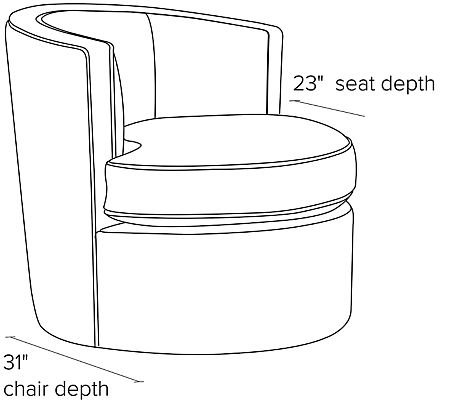 Side view dimension illustration of Otis swivel chair