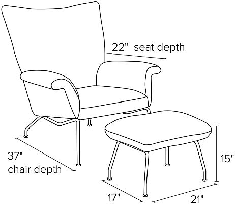 Side view dimension illustration of Paris chair and ottoman