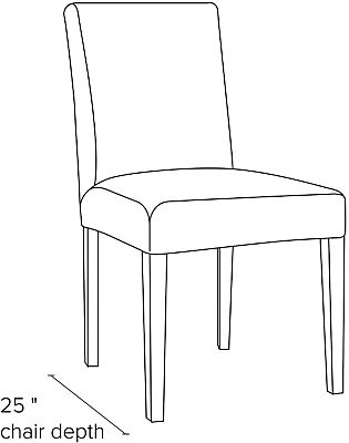 Side view dimension illustration of Peyton side chair