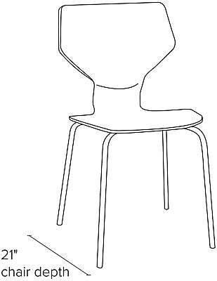 Side view dimension illustration of Pike side chair