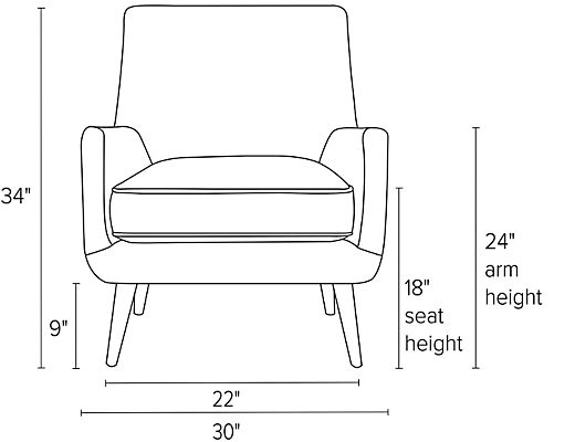 Front view dimension illustration of Quinn chair