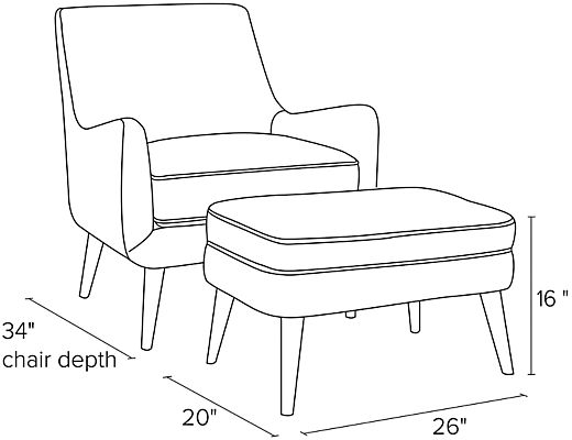 Side view dimension illustration of Quinn chair and ottoman