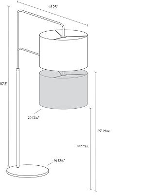 Detail of Rayne floor lamp dimension drawing