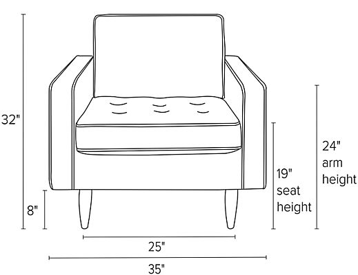 Front view dimension illustration of Reese chair